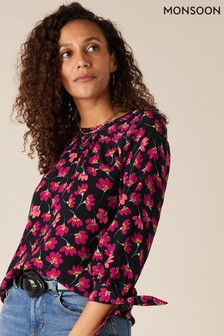 Monsoon Black Floral Blouse In Sustainable Viscose