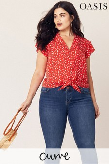 Oasis Red Curve Floral Shirt