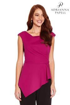 Adrianna Papell Knit Crepe Peplum Top