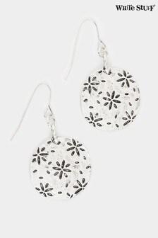 White Stuff Metallic Flower Pattern Drop Earrings