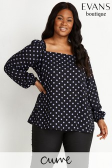 Evans Curve Black And Lilac Polka Dot Square Neck Top