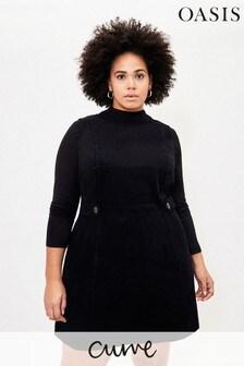 Oasis Black Curve Cord Shift Dress