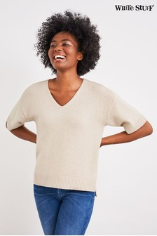 White Stuff Natural Bark V-Neck Jumper