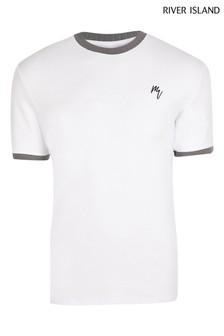River Island White Slim Maison Ringer T-Shirt