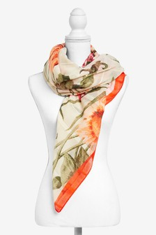 Large Scale Floral Print Scarf