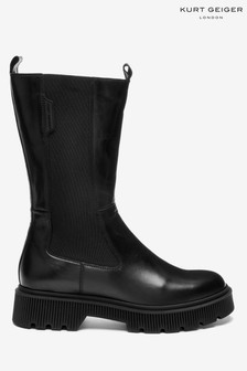 Kurt Geiger London Black Stint Biker Boots
