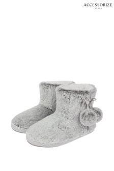 Accessorize Grey Supersoft Slipper Boots