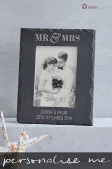 Personalised Mr and Mrs Slate Picture Frame by Loveabode