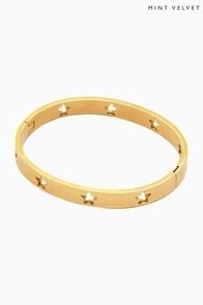 Mint Velevt Gold Star Insert Bangle
