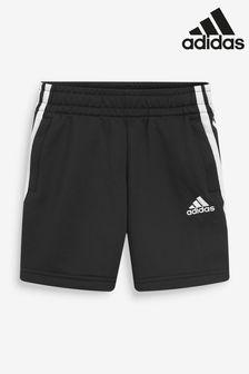 adidas Black Performance 3 Stripe Shorts