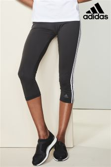 adidas Black 3 Stripe Capri