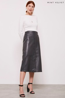 Mint Velvet Grey Smoke Leather Utility Skirt