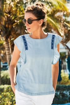 Embroidered Tencel® Top