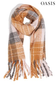 Oasis Camel Cosy Check Scarf