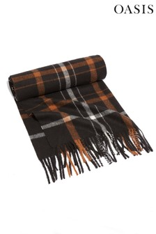 Oasis Black Brushed Check Scarf