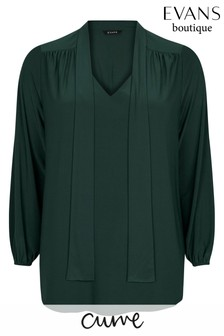 Evans Curve Green Pussybow Blouse
