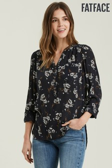 FatFace Black Lorelie Floating Floral Patch Blouse