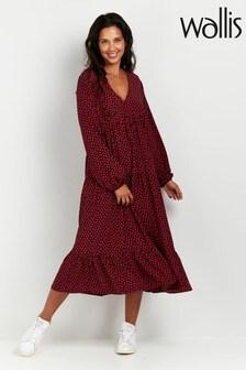 Wallis Black Ditsy Print Midi Dress