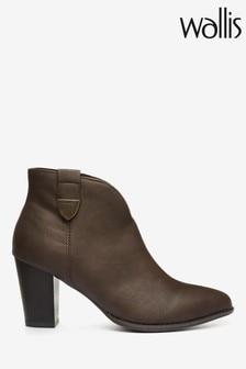 Wallis Angelina Chocolate Cowboy Tab Leather Stack Boots