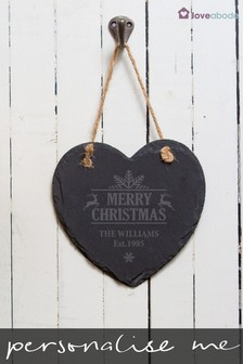Personalised Hanging Slate Heart by Loveabode