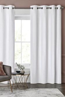 Sateen Stripe Eyelet Curtains
