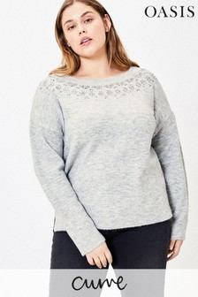 Oasis Curve Grey Embellished Jumper