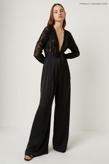 French Connection Black Annaleigh Satin Belted Jumpsuit