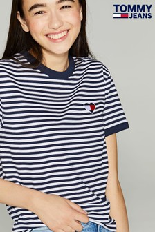 Tommy Jeans Blue Heart Flag Striped T-Shirt