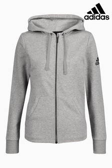 adidas Grey Essential Solid Full Zip Hoody