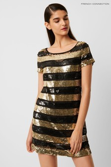 French Connection Black Anni Sequin Stripe T-Shirt Dress