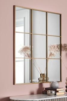 Gold Window Pane Mirror