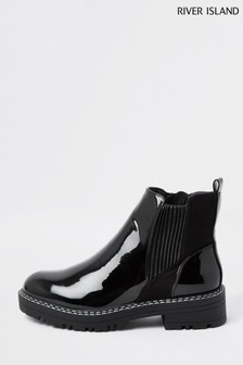 River Island Black Chunky Chelsea Boots