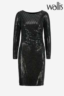 Wallis Silver Shimmer Sequin Ruched Side Dress