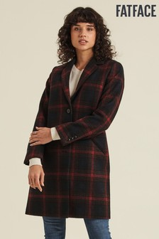 FatFace Red Check Wool Coat