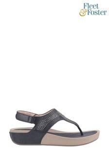 Fleet & Foster Black Yolanda Touch Fastening Sandals