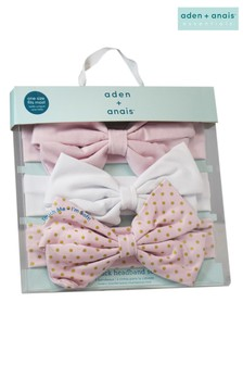 aden + anais Stirnbänder mit Goldpunkten im Dreierpack, Pink
