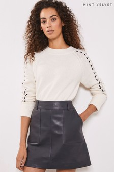 Mint Velvet Grey Smoke Leather Mini Skirt