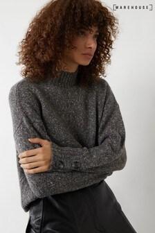Warehouse Grey Wool Blend Button Cuff Jumper