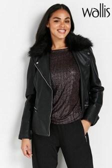 Wallis Black Faux Fur Collar Biker Jacket