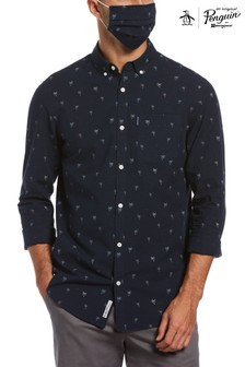 Original Penguin® Blue Palm Print Shirt
