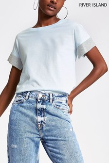River Island Light Blue Embellished Cuff T-Shirt