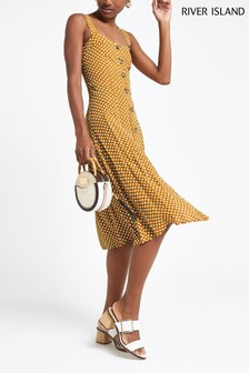 River Island Yellow Dark Spot Waisted Dress