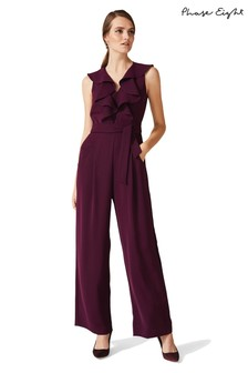 Phase Eight Damson Linda Frill Jumpsuit
