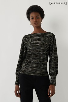 Warehouse Black and Gold Stripe Sweat Top