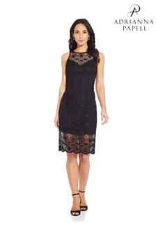 Adrianna Papell Black Sunrise Lace Illusion Sheath Dress