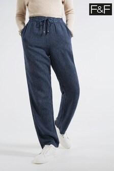 F&F Navy Stripe Straight Leg Linen Trousers