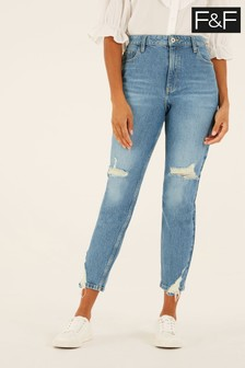 F&F Mid Wash Ripped Mom Jeans