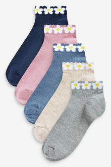 Daisy Print Trainer Socks Five Pack