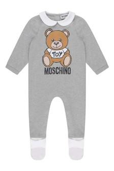 Grey Cotton Teddy Babygrow
