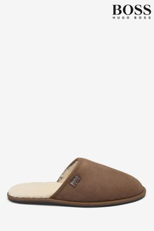 BOSS Brown Suede Flip Flops